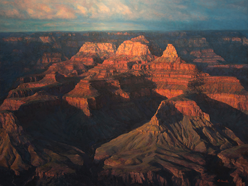 South Rim Enchanted Painting by Brenda Howell showing dramatic late afternoon view of the colorful formations of Zoroaster, Deva, and Brahma Temples of Grand Canyon National Park in Arizona.